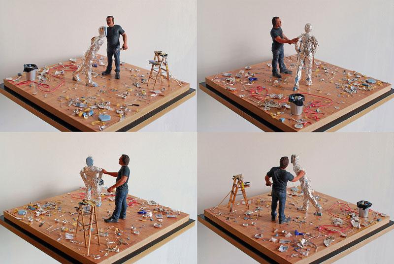 tom-friedman in studio miniature model diorama by joe fig