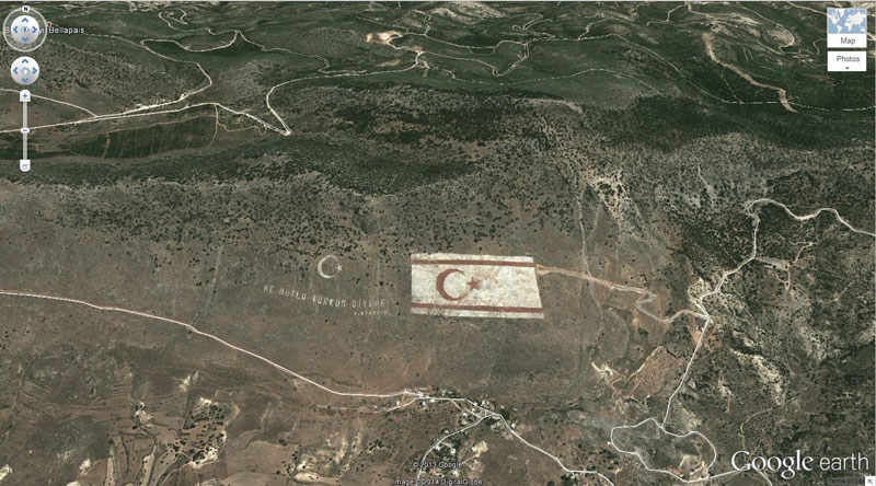 turkish flag in cyprus 50 Amazing Finds on Google Earth