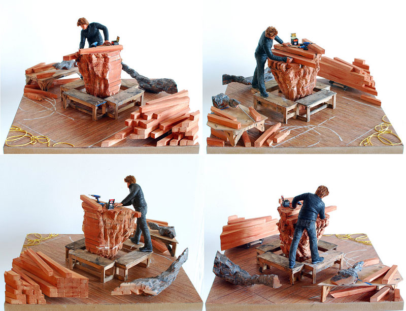 Ursula-VonRydingsvard in studio miniature model diorama by joe fig