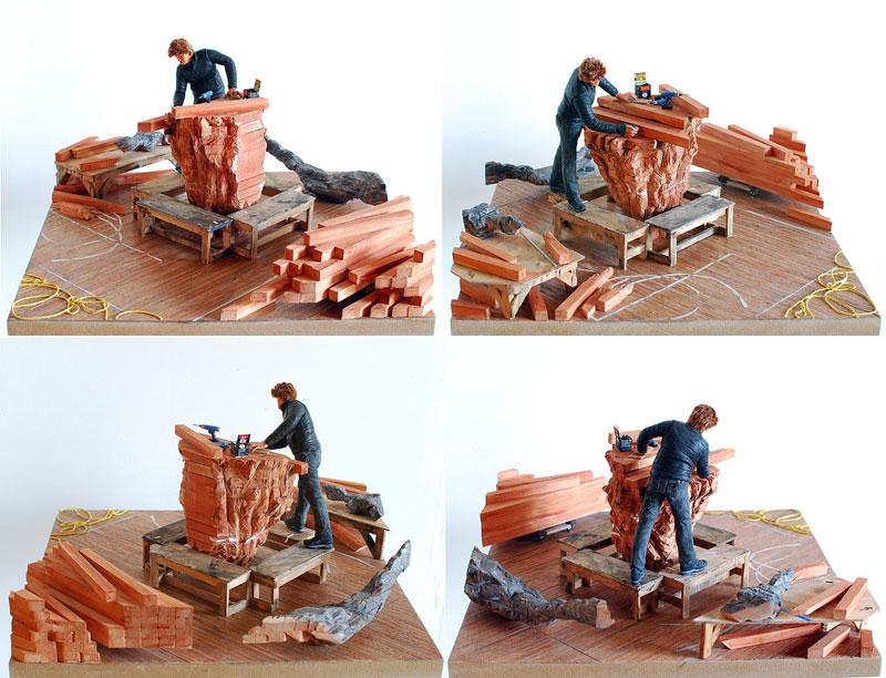 Ursula-VonRydingsvard in studio miniature model diorama by joe fig