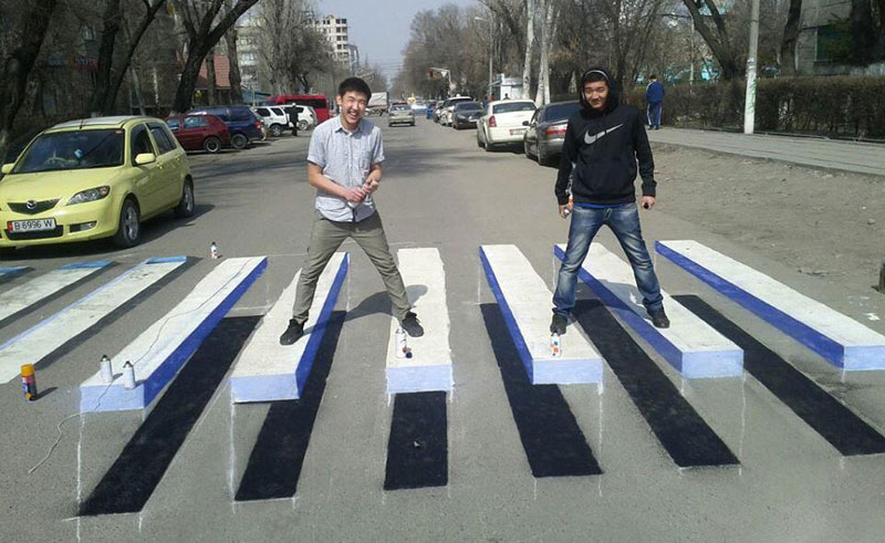 3d crosswalk street art kyrgyzstan The Top 100 Pictures of the Day for 2014