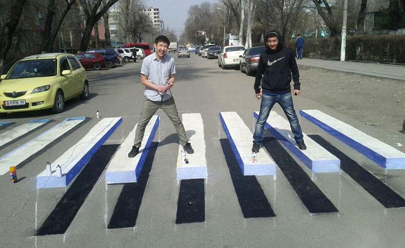 3d crosswalk street art kyrgyzstan Picture of the Day: The 3D Crosswalk