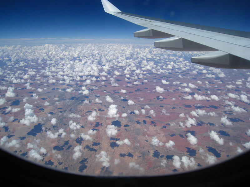 cotton ball clouds from an airplane
