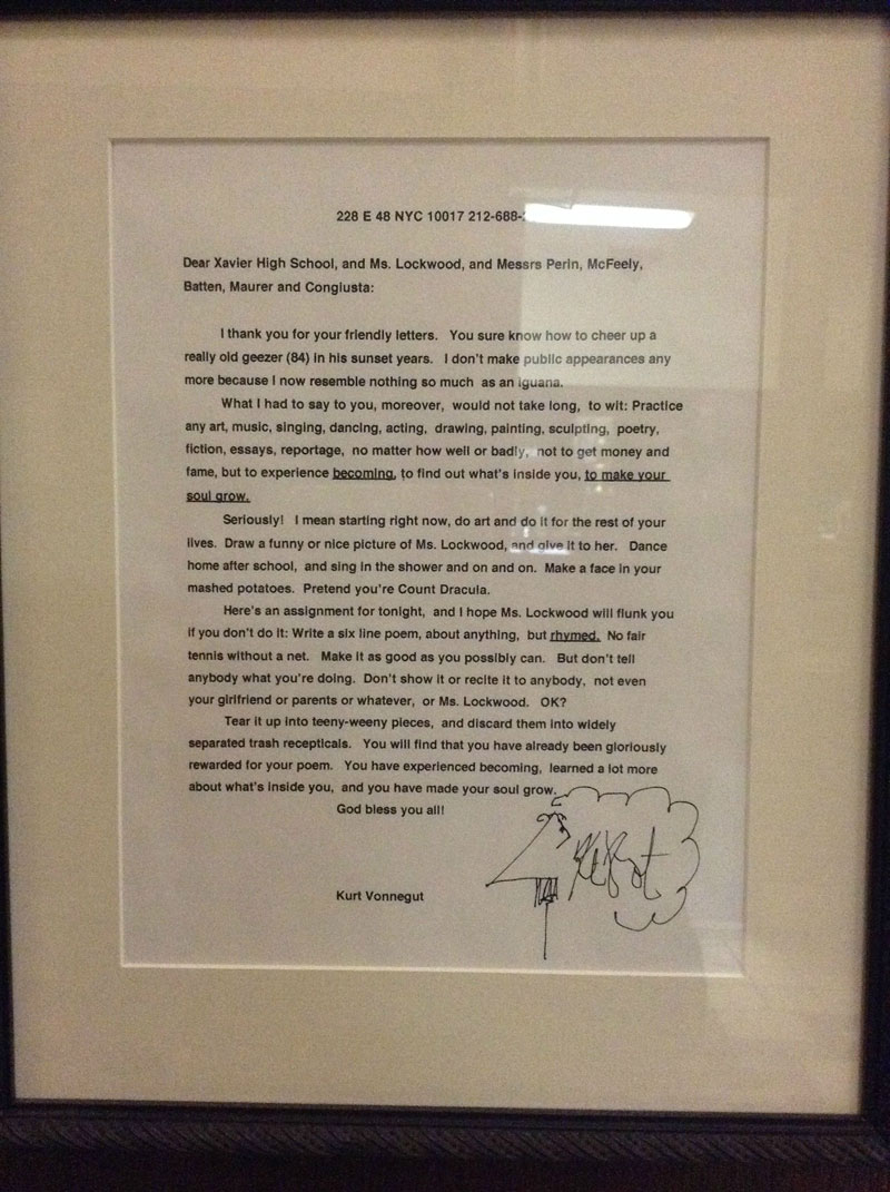 kurt vonnegut letter to students xavier high school This Teacher Asked Her Students to Write to an Author. Kurt Vonnegut Wrote Back This