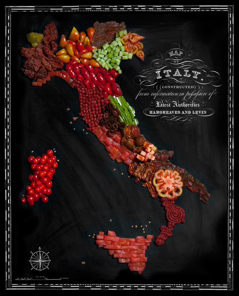 Map of Italy Made from Regional Foods by caitlin levin and henry hargreaces (4)
