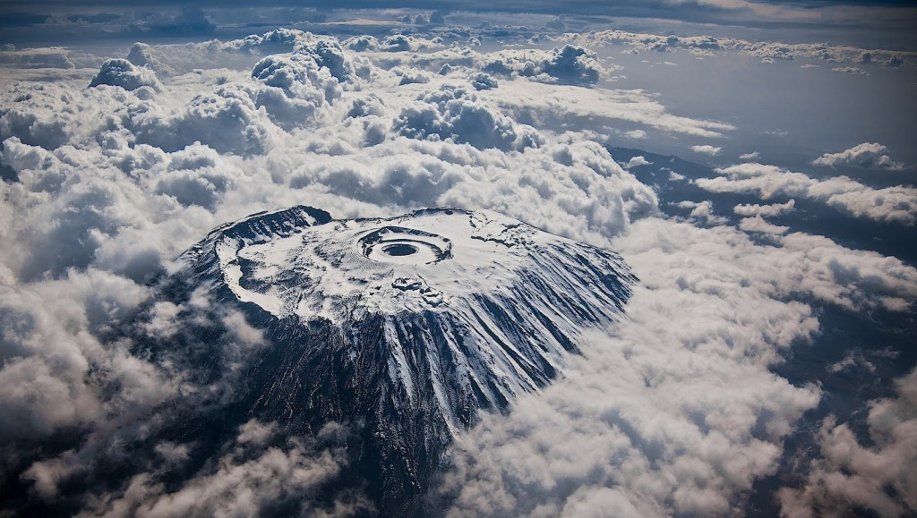 mount kilimanjaro from an airplane snow covered