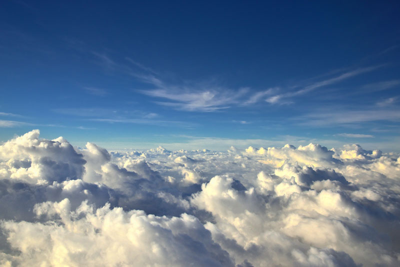 sea of clouds from an airplane