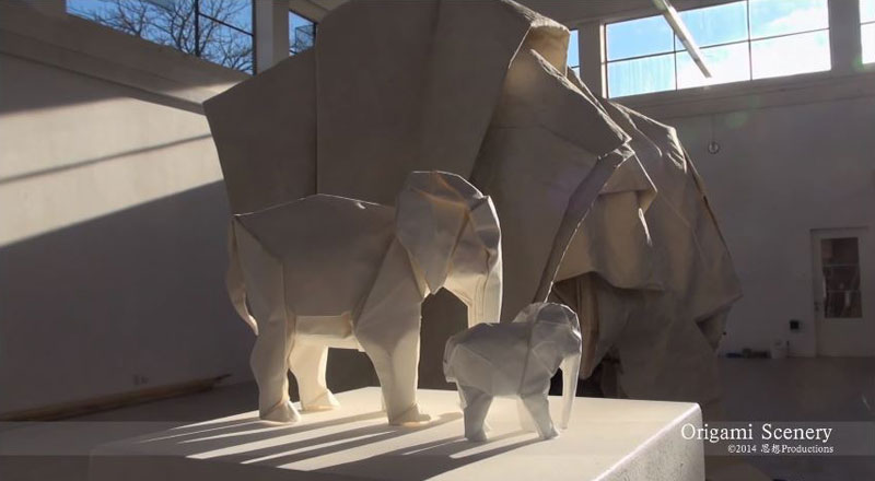 sipho mabona folds a life sized origami white elephant from a single sheet of paper (5)
