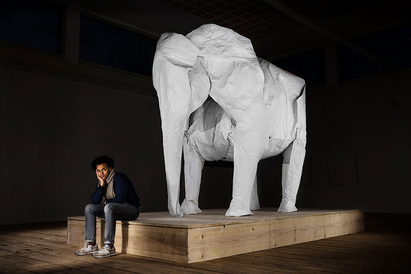 sipho mabona folds a life sized origami white elephant from a single sheet of paper (7)