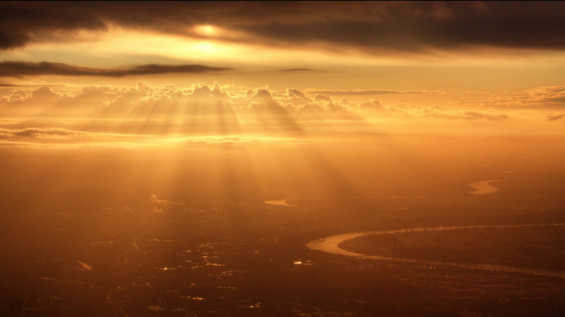 sunrise from an airplane window
