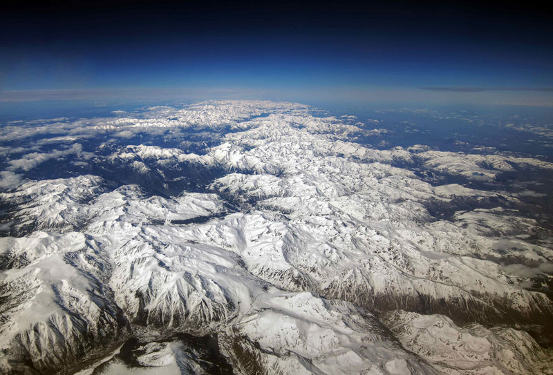 The Pyrenees mountain range from above aerial airplane view