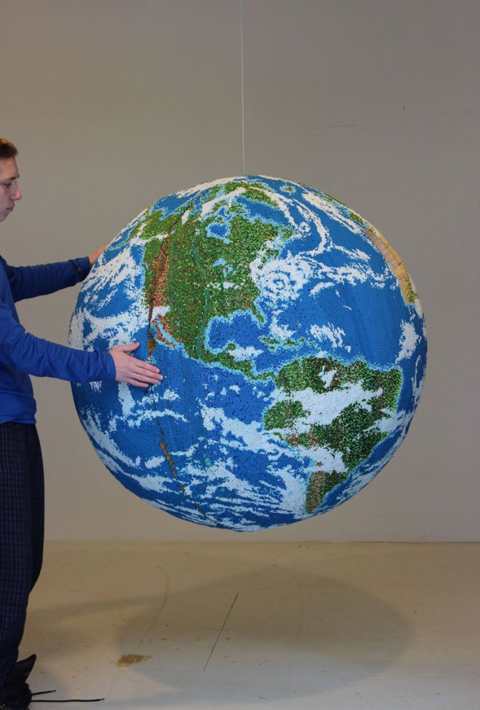 A Giant World Globe Made Entirely of Matches