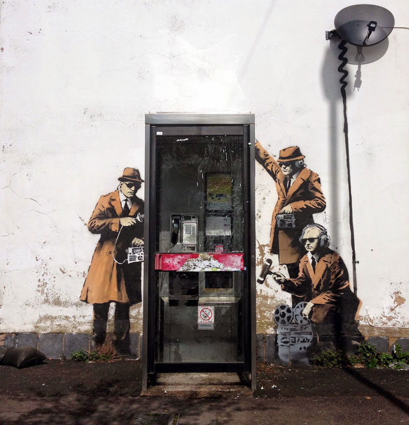 banksy wiretapping telephone booth 2014 Banksy Unveils Two New Artworks