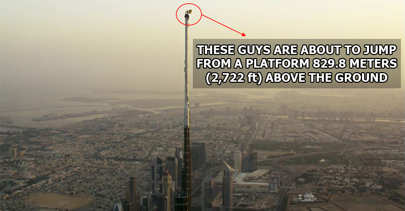 These guys just base jumped from the very top of the world s tallest