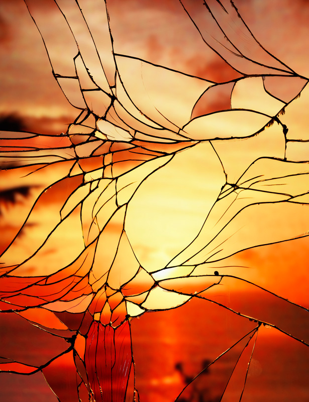 Shattered Mirror Sunset Reflections That Look Like Stained Glass Windows