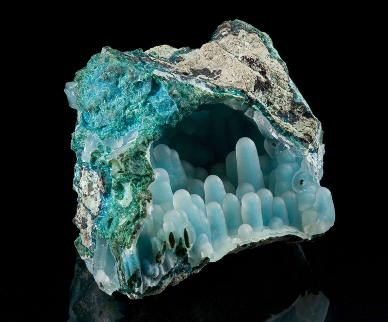 Chalcedony on Chrysocolla in malachite diglet super mario mineral (3)