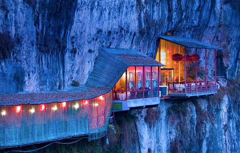 fangweng hanging restaurant cliffside china 18 Restaurants In Unforgettable Settings