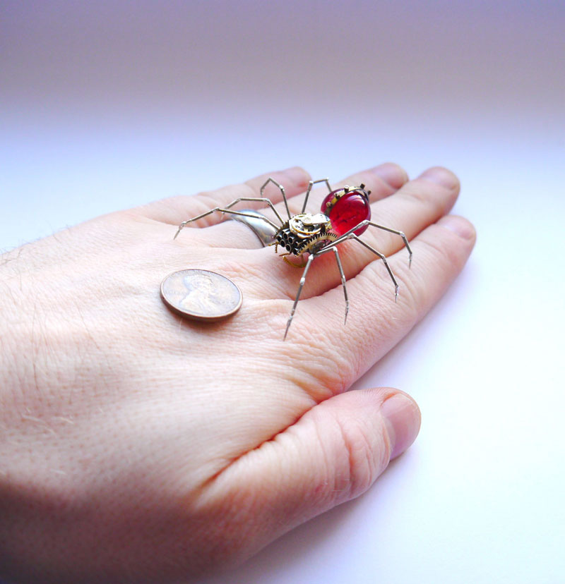 Mechanical Insects Made from Old Watch Parts and Discarded Objects