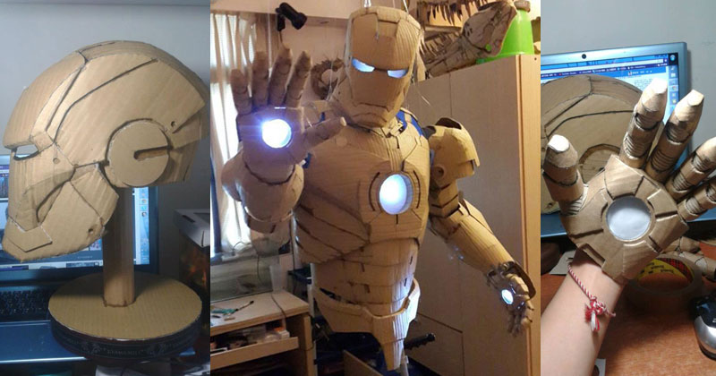 Student Makes Life-Size Iron Man Suit Using Only Cardboard