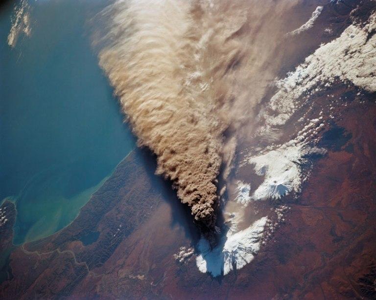 Kliuchevskoi-Volcano-from-space-shuttle-endeavour-1994