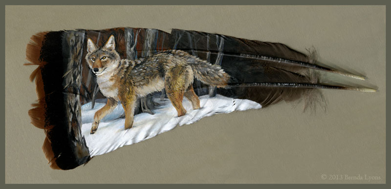 animals painted onto bird feathers by brenda lyons falcon moon studio (2)