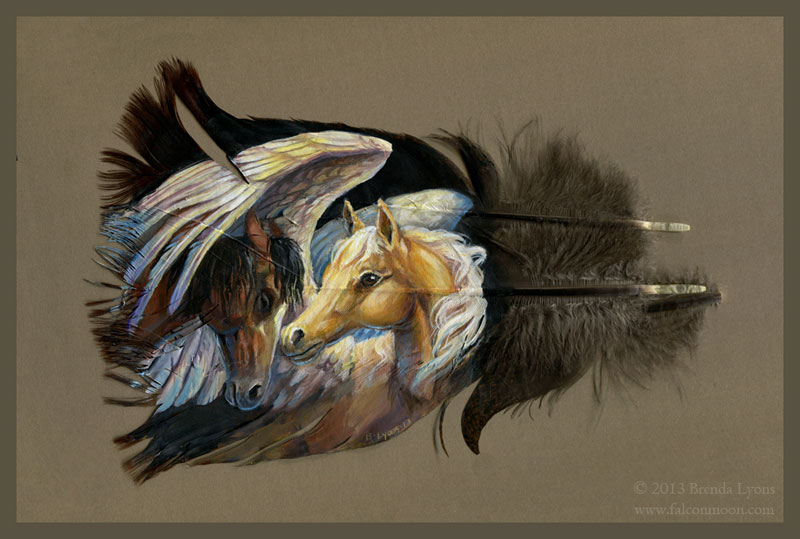 animals painted onto bird feathers by brenda lyons falcon moon studio (8)