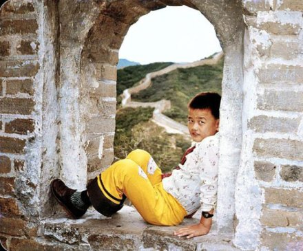 baby yao ming as a kid great wall of china