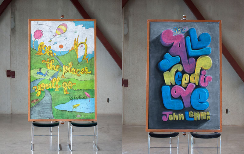 Inspirational Quotes With Drawings: Two Anonymous Students Are Drawing Inspirational Quotes On