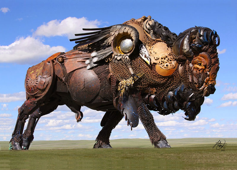 scrap metal bison by john lopez 3 Artist Turns Old Hubcaps Into Awesome Animal Sculptures