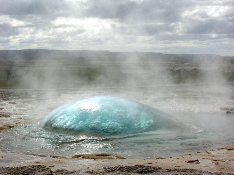 Strokkur Geyser on the Verge of Eruption