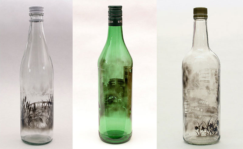 bottled smoke art by jim dingilian 11 These Were Handmade in the 1800s by Layering Sand. No Glue was Used