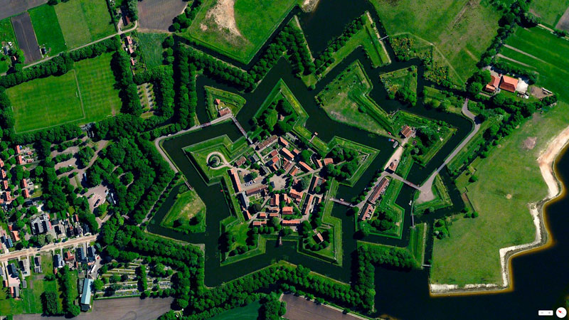 bourtange netherlands from above Photographer Captures Roads Less Traveled Around the World