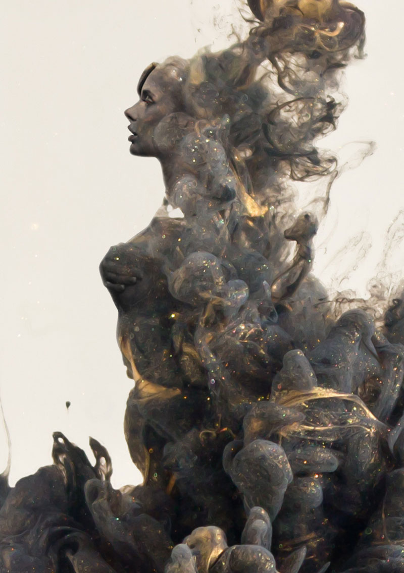 double exposure faces blended into plumes of ink in water by chris slabber (4)