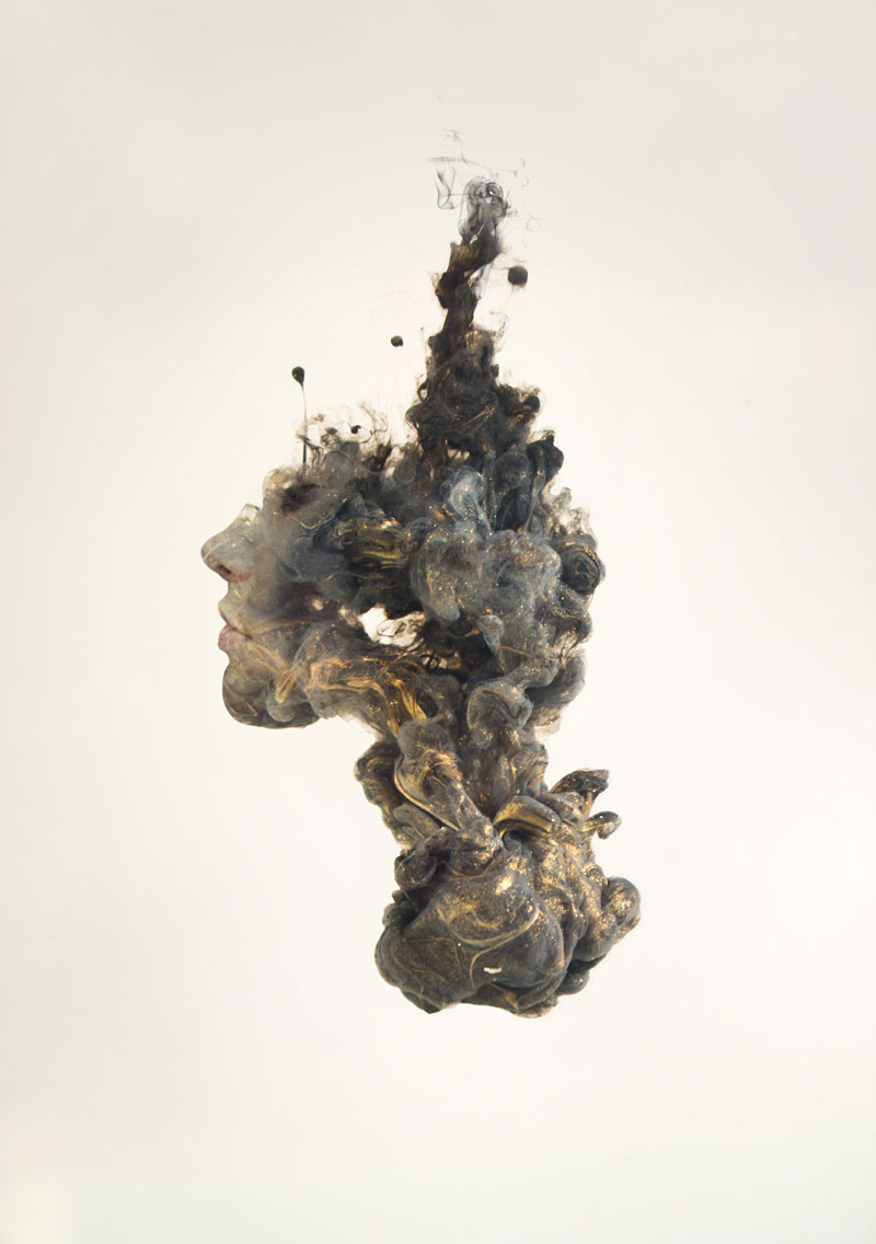 double exposure faces blended into plumes of ink in water by chris slabber (7)