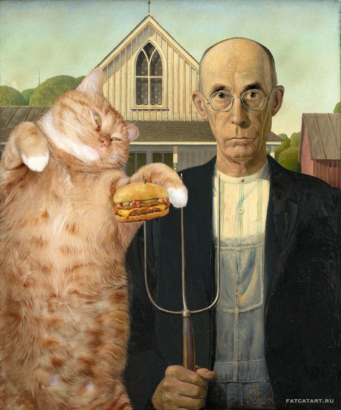 fat cat photoshopped into famous artworks (13)