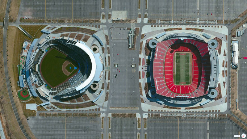 kauffman arrowhead stadium kansas city missouri from above aerial satellite 17 Satellite Photos Around the World that Will Change Your Perspective