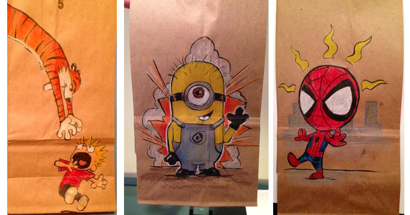 This Dad Has Drawn on His Son's Lunch Bag Every Day for 2 StraightYears