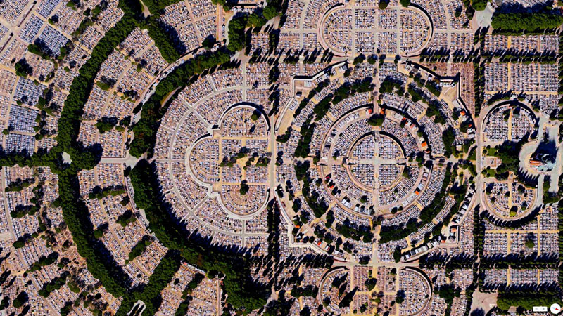 our lady of almudena cemetary from above aerial satellite 17 Satellite Photos Around the World that Will Change Your Perspective