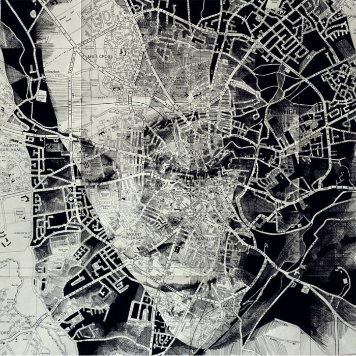portraits drawn on maps by ed fairburn 4 Bottled Smoke Art by Jim Dingilian