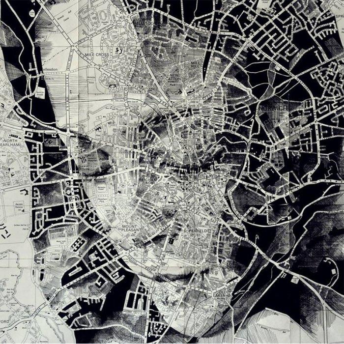 portraits drawn on maps by ed fairburn 4 Bottled Smoke Art by Jim Dingilian