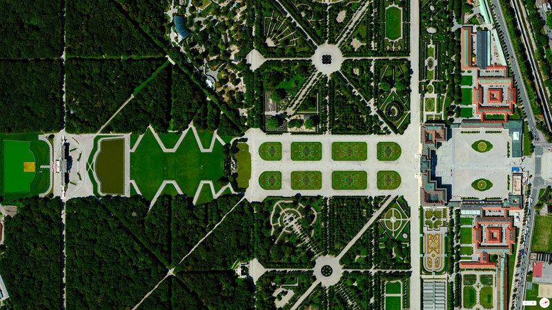 schonbrunn palace vienna austria from above aerial satellite