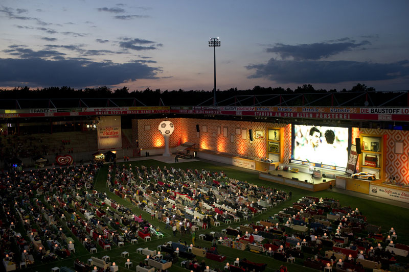 Stadium in Berlin Gets Turned Into Giant Living Room with 750 Couches and 700″TV