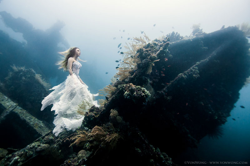 Surreal Underwater Photo Shoot with Freedivers on a Shipwreck inBali