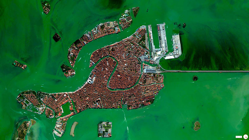 venice italy from above aerial satellite 17 Satellite Photos Around the World that Will Change Your Perspective