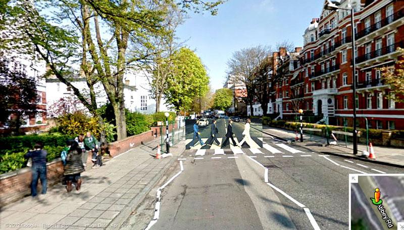 abbey road album cover superimposed