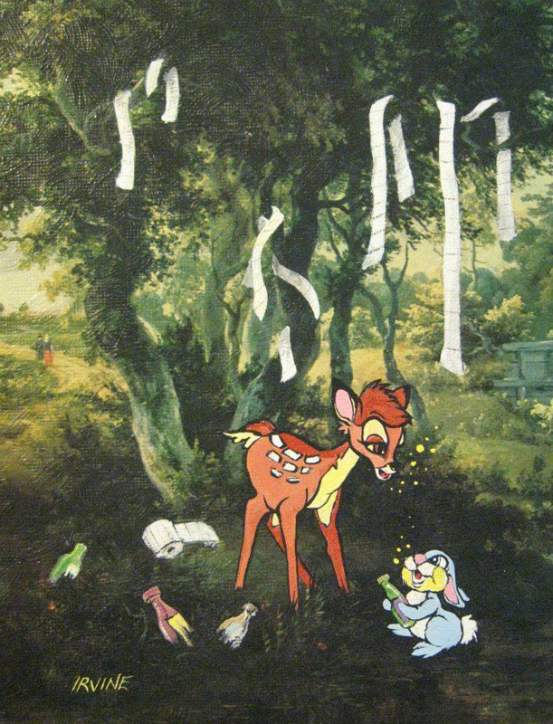 adding characters to thrift store paintings by david irvine gnarled branch (2)