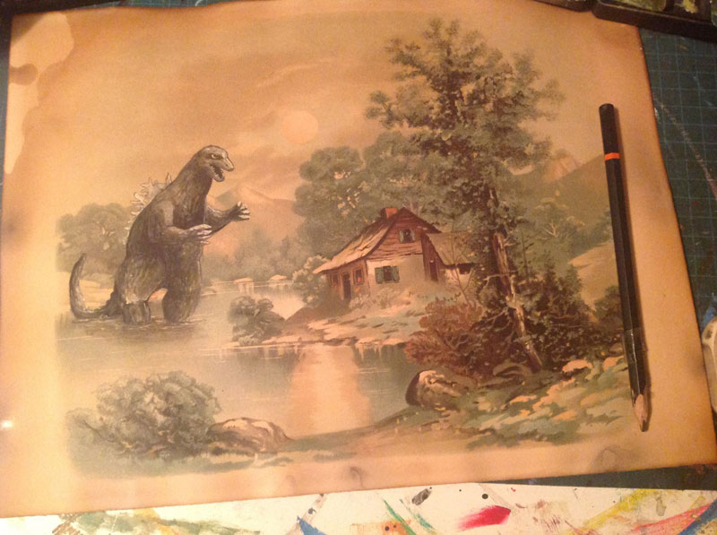 adding characters to thrift store paintings by david irvine gnarled branch (31)