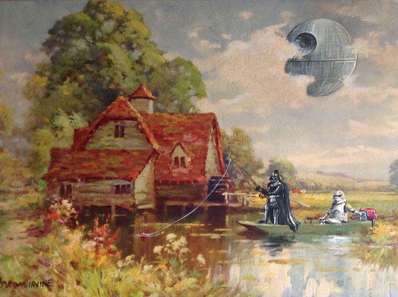 adding characters to thrift store paintings by david irvine gnarled branch 32 Artist Removes One Letter from Famous Movie Titles and Illustrates the Results