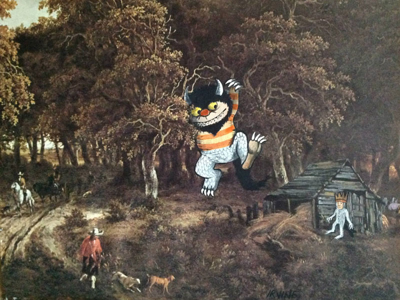 adding characters to thrift store paintings by david irvine gnarled branch (34)