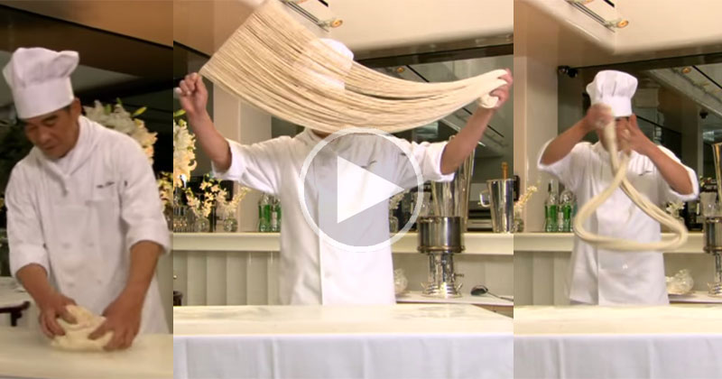 Master Chef Turns Lump of Dough Into Hundreds of Noodles